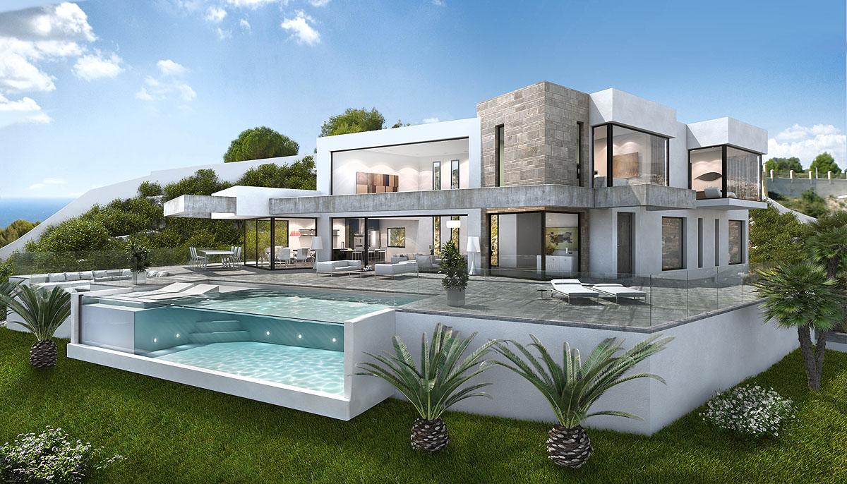Amazing modern stylish villa full furnished white decoration